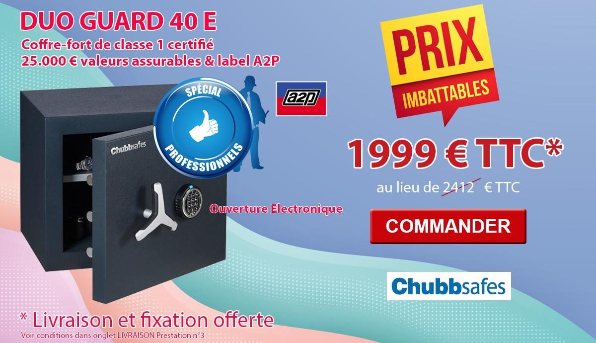 Chubbsafes - DUOGUARD 40 Classe 1 - Coffre fort agréé assurance